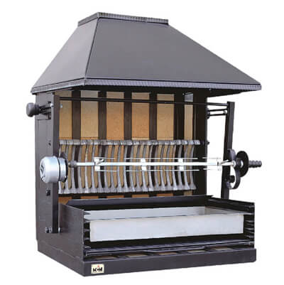 Wood-gired roasters and barbecues